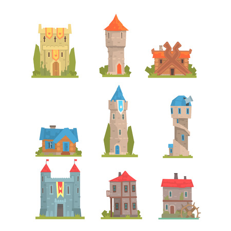 Old And Medieval Historical Buildings Collection Of European Architecture Towers, Fortifications And City Houses Illustration