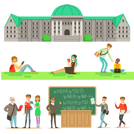 professors: University Education, Students And Professors Set Of Illustrations Illustration