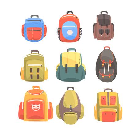 Colorful Cartoon Backpacks Set Of School Bag For Kids Designs 向量圖像
