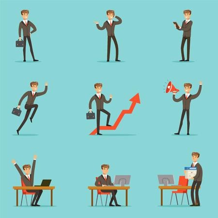 Businessman Work Process Conjunto de escenas relacionadas con negocios con joven empresario personaje de dibujos animados