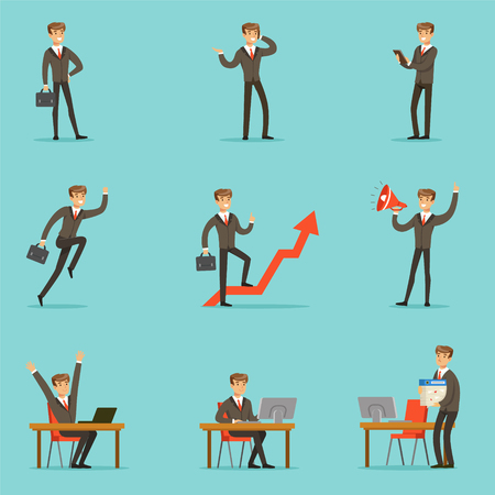 Businessman Work Process Set Of Business Related Scenes With Young Entrepreneur Cartoon Character Иллюстрация