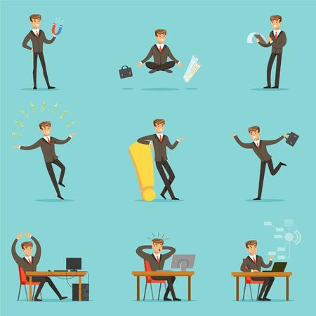 ビジネスのビジネスマンの仕事プロセス シリーズ関連の若い起業家の漫画のキャラクターとシーン  イラスト・ベクター素材