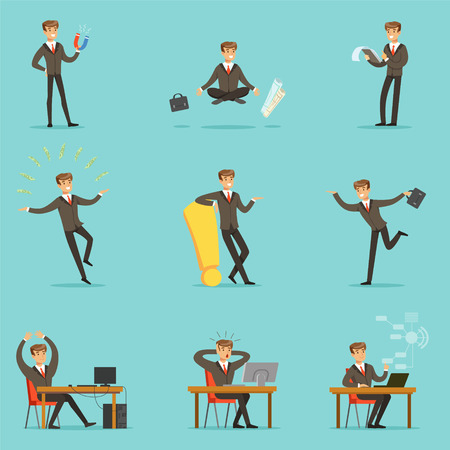 Businessman Work Process Series Of Business Related Scenes With Young Entrepreneur Cartoon Character