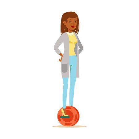 powered: Woman In Cardigan And Jeans Riding Electric Self-Balancing Battery Powered Personal Electric Scooter Cartoon Character Illustration
