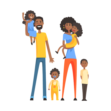 Big Family With Parents And Four Kids,Part Of Family Members Series Of Cartoon Characters