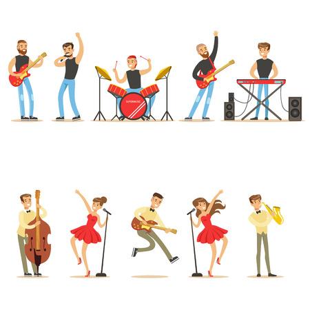 楽器の演奏の音楽とステージ上の音楽家シリーズ コンサートの歌のアーティスト漫画のベクトル文字