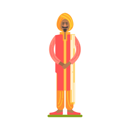 sikh: Man In National Red And Orange Clothes With Turban, Famous Traditional Touristic Symbol Of Indian Culture
