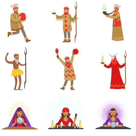 Different Cultures Shamans And Gypsy Fortune-Tellers Set Of Cartoon Characters Performing Occult Rituals Illustration