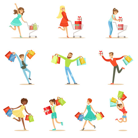 sopping: Shopaholic People Happy And Excited Running With Paper Shopping Bags Smiling Carton Characters Set Illustration