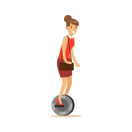 Woman In Red Top With Handbag Riding Electric Self-Balancing Battery Powered Personal Electric Scooter Cartoon Character