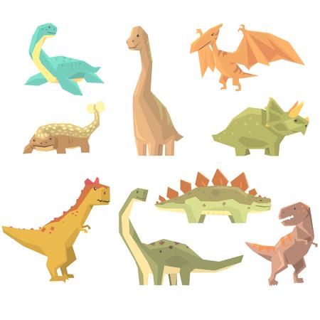 Dinosaurs Of Jurassic Period Set Of Prehistoric Extinct Giant Reptiles Cartoon Realistic Animals. Illustration