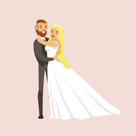 Newlyweds Hugging And Holding Each Other At The Wedding Party Scene Illustration