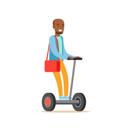 Black Man In Blue Sweater Riding Electric Self-Balancing Battery Powered Personal Electric Scooter Cartoon Character