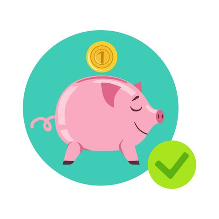 Piggy Bank And Coin As Symbol Of Personal Savings, Insurance Company Services Infographic Illustration Illustration