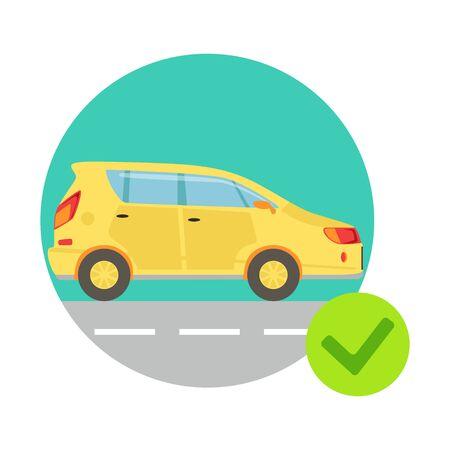 Voiture jaune Dans Cadre ronde, Compagnie d'Assurance-services Infographic Illustration