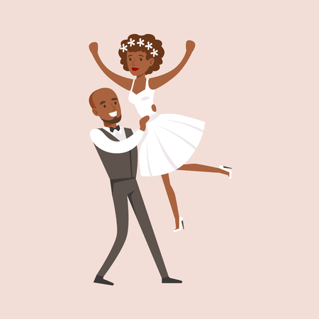 Newlyweds Dancing at The Wedding Party Illustration