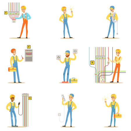 Electrician Specialist With Electric Wires At Work Doing Wireman Repairs Set Of Cartoon Character Scenes