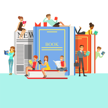 People Who Love To Read Reading Books Around Giant Books With Hard Cover And Newspaper 向量圖像