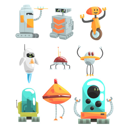 Different Design Public Service Robots Set Of Colorful Cartoon Androids Isolated Drawings