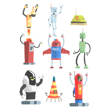 Different Design Public Service Robots Collection Of Colorful Cartoon Androids Isolated Drawings