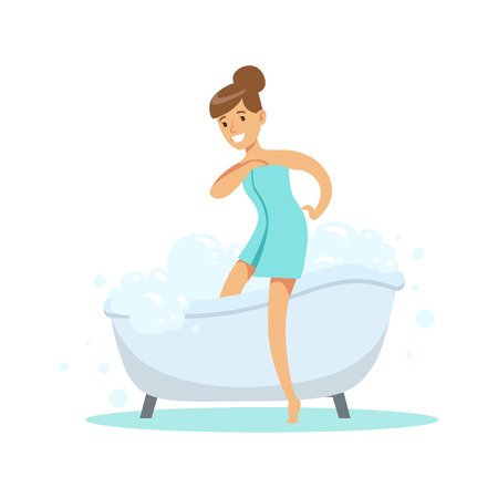going out: Girl Going Out OF Bathtub, Part Of People In The Bathroom Doing Their Routine Hygiene Procedures Series