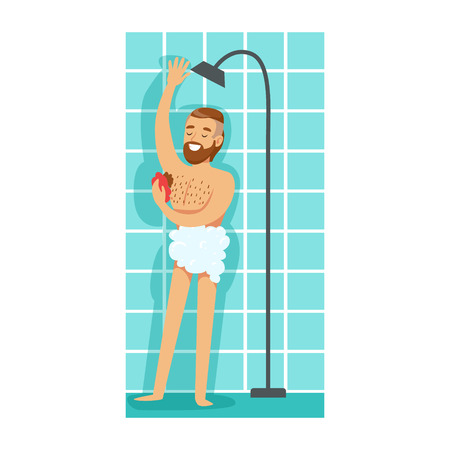 Man Washing Himself With Washcloth In Shower, Part Of People In The Bathroom Doing Their Routine Hygiene Procedures Series