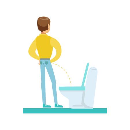 Homme pissant dans le tolet, une partie des personnes dans la salle de bain faisant leur série de procédures d'hygiène de routine Vecteurs