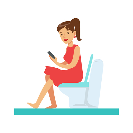 enjoying: Woman With Gadget In Toilet, Part Of People In The Bathroom Doing Their Routine Hygiene Procedures Series