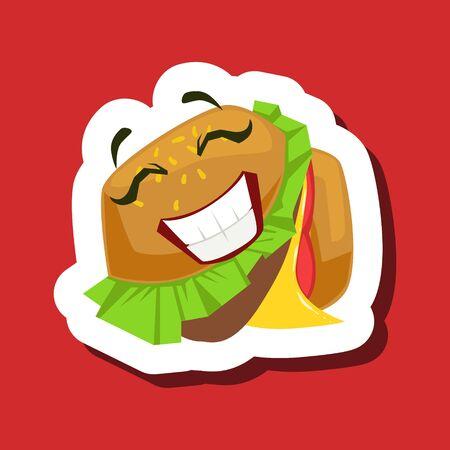 Happy Smiling Burger Sandwich, Cute Emoji Sticker On Red Background Illustration