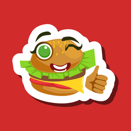 Burger Sandwich Showing Thumbs Up, Cute Emoji Sticker On Red Background
