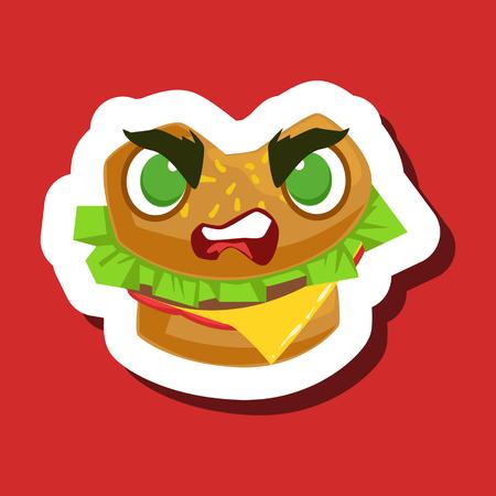 Angry Burger Sandwich, leuke Emoji-sticker op rode achtergrond