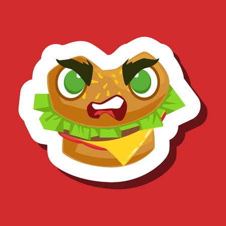 Angry Burger Sandwich, Cute Emoji Sticker On Red Background Illustration