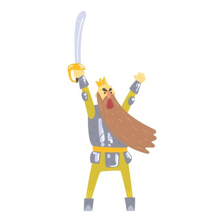 Warrior King With Sword And Armor With Long Beard Shouting On Battlefield Fairy-Tale Cartoon Childish Character Illustration
