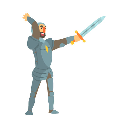 Knight Attacking With Full Body Armor And Sword Fairy Tale Cartoon Childish Character Illustration