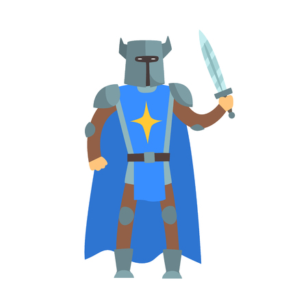 Crusader Knight In Blue Cape With Sword And Sword Fairy Tale Cartoon Childish Character