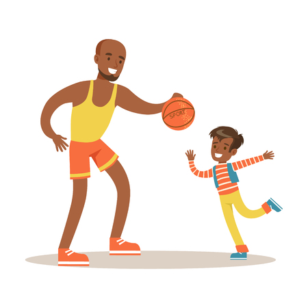 spending: Dad Paying Basketball With Son, Loving Father Enjoying Good Quality Daddy Time With Happy Kid Illustration