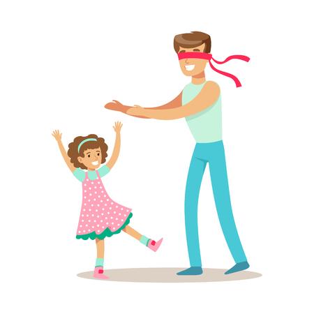 パパの再生は、質の良い幸せな子供とパパの時間を楽しんでいる愛情のある父の娘とかくれんぼ  イラスト・ベクター素材