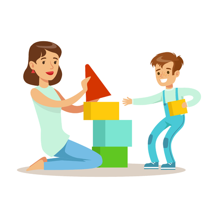 Mom Playing Blocks With Her Son, Loving Mother Enjoying Good Quality Mommy Time With Happy Kid
