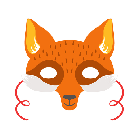 Red Fox Animal Head Mask, Kids Carnival Disguise Costume Element