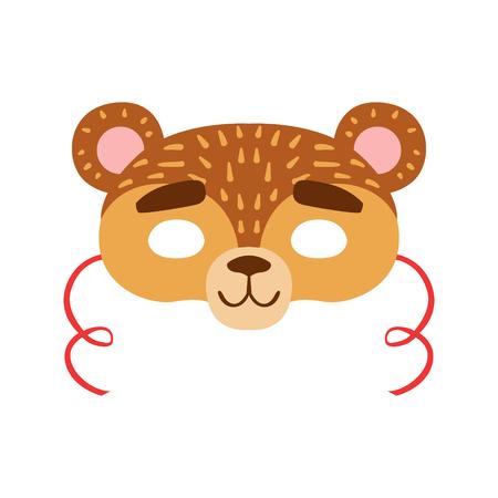 Brown Bear Animal Head Mask, Kids Carnival Disguise Costume Element Illustration