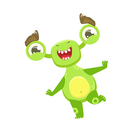 Funny Monster Dancing And Smiling, Green Alien Emoji Cartoon Character Sticker Illustration