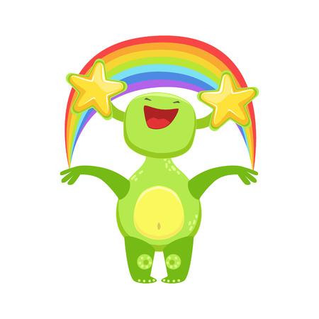 childish: Funny Monster Seeing Stars And Rainbow , Green Alien Emoji Cartoon Character Sticker