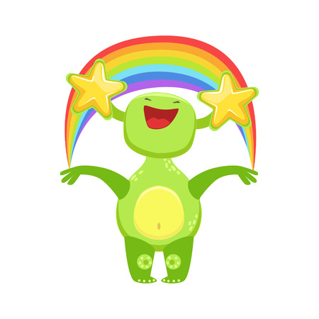 Funny Monster Seeing Stars And Rainbow , Green Alien Emoji Cartoon Character Sticker
