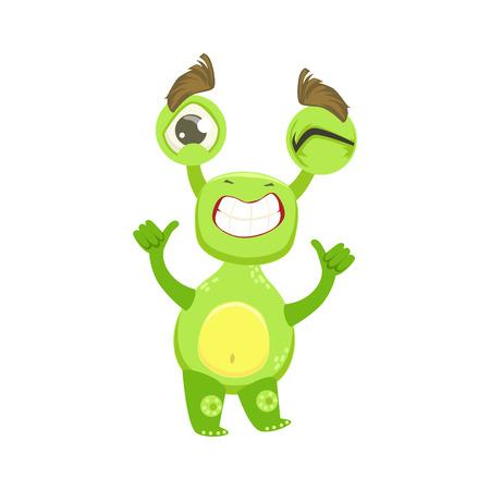 Cool Funny Monster Teethy Smile, Green Alien Emoji Cartoon Character Sticker