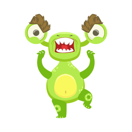 Angry Funny Monster Pissed Off, Green Alien Emoji Cartoon Character Sticker