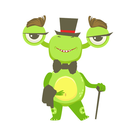 bow belly: Gentleman Funny Monster With Top Hat And Bow Tie, Green Alien Emoji Cartoon Character Sticker Illustration