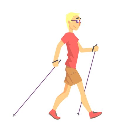 finnish: Blond Man In Shades Doing Nordic Walk Outdoors Illustration