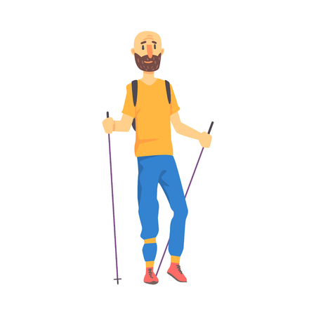 Blond Man In Shades Doing Nordic Walk Outdoors Illustration