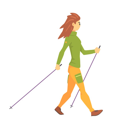 Woman In Green Top With Cap Doing Nordic Walk Outdoors Illustration