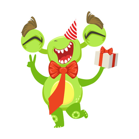 Funny Monster At Birthday Party With Bow Tie And Gift, Green Alien Emoji Cartoon Character Sticker Illustration